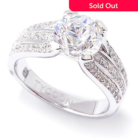127-254 - TYCOON Platinum Embraced™ 2.60 DEW Round Cut Simulated Diamond Three-Row Ring