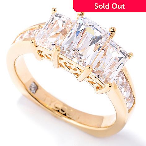 127-258 - TYCOON 2.30 DEW Rectangle Cut Simulated Diamond Three-Stone Ring