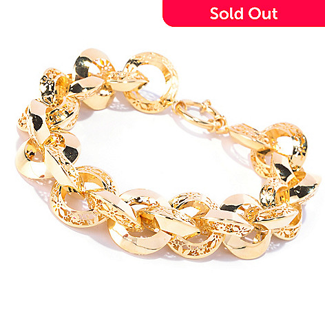 127-276 - Italian Designs with Stefano 14K Gold Polished Ricami Anniversary Bracelet