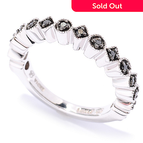127-294 - Glenn Bradford 0.15ctw Black Diamond Stack Ring