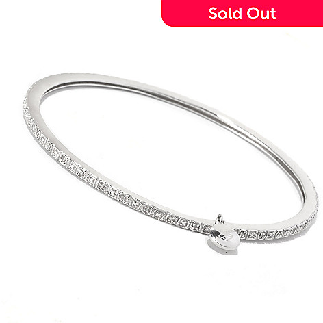 127-297 - Glenn Bradford 0.10ctw Diamond ''Rebecca'' Slip-On Bangle Bracelet