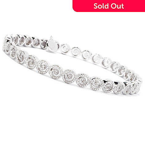 127-301 - Glenn Bradford 0.10ctw Diamond Swirl ''Forever'' Bangle Bracelet