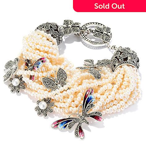 127-321 - Dallas Prince Sterling Silver 8.5'' Butterfly Bracelet Made w/ Swarovski® Marcasite