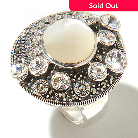 127-328 - Dallas Prince Sterling Silver Round Ring Made w/ Swarovski® Marcasite