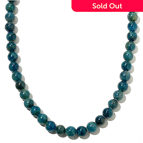 127-330 - Gem Treasures® Sterling Silver 8mm Apatite Bead Necklace w/ Magnetic Clasp