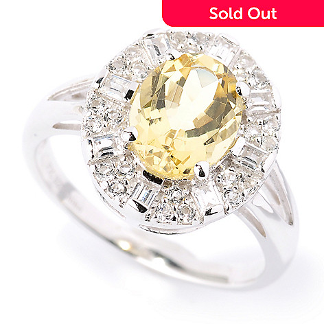 127-337 - Gem Treasures® Sterling Silver 1.90ctw Oval Yellow Beryl & Gemstone Ring