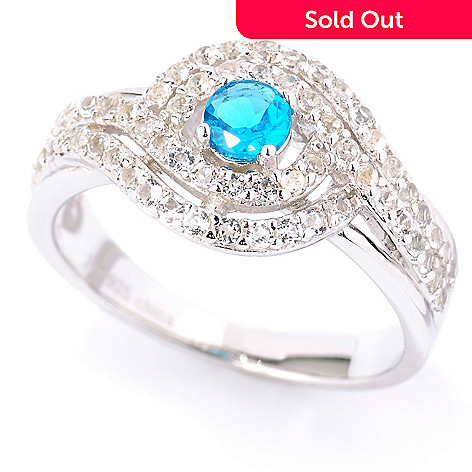 127-339 - Gem Treasures® Sterling Silver Neon Blue Apatite & White Topaz Swirl Ring