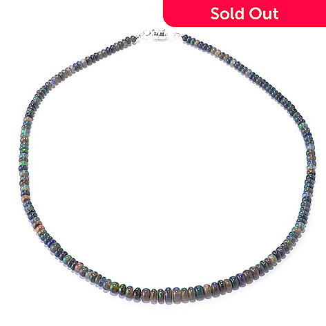 127-340 - Gem Insider™ Sterling Silver 18'' Ethiopian Smoked Opal Bead Necklace w/ Magnetic Clasp