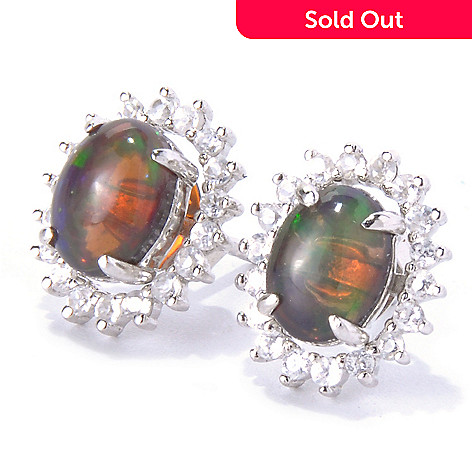 127-345 - Gem Insider™ Sterling Silver Smoked Opal Stud Earrings w/ White Zircon Jackets