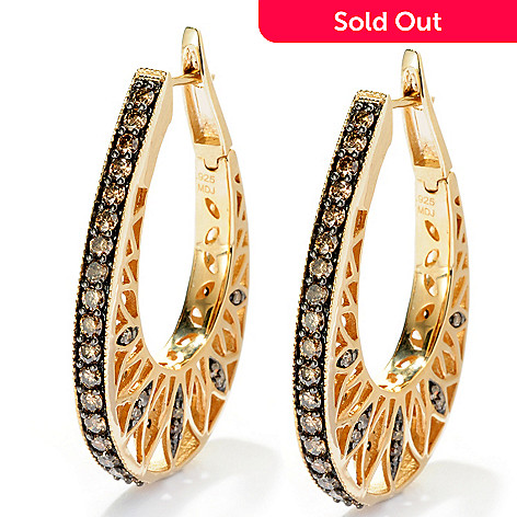 127-348 - Southport Diamonds Sterling Silver & 14K Vermeil 1.75ctw Champagne Diamond Hoop Earrings
