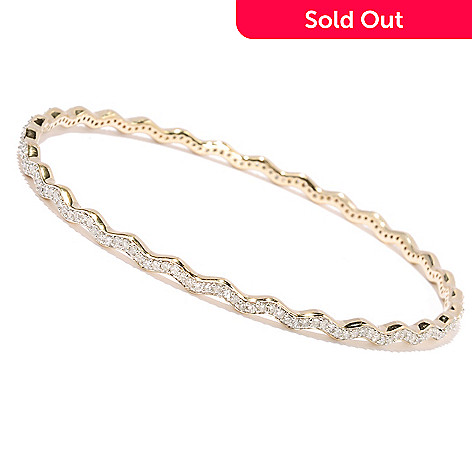 127-349 - Southport Diamonds Sterling Silver & 14K Vermeil 8'' 1.50ctw Diamond Zigzag Bangle Bracelet