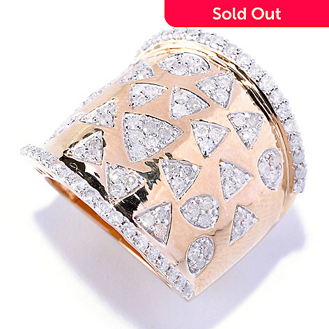 127-351 - Southport Diamonds Sterling Silver & 14K Vermeil 1.50ctw Diamond Mosaic Ring