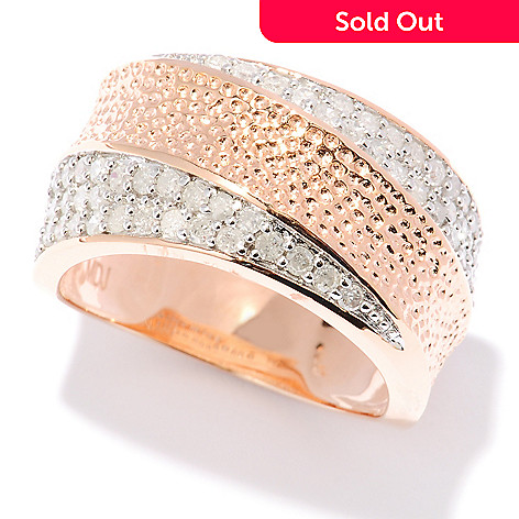 127-359 - Southport Diamonds Sterling Silver & 14K Rose Vermeil 0.76ctw Diamond Wide Band Ring