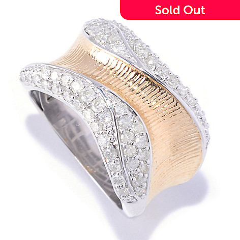 127-363 - Southport Diamonds Sterling Silver & 14K Vermeil 1.15ctw Pave Edge Diamond Wave Ring