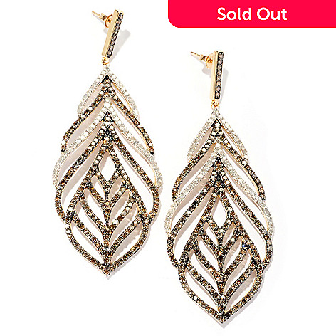 127-370 - Diamond Treasures 14K Gold, 5.92ctw Champagne & White Diamond Leaf Drop Earrings