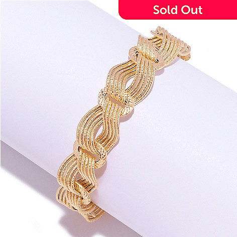 127-375 - Italian Designs with Stefano 14K Gold Hammered & Textured Bracelet