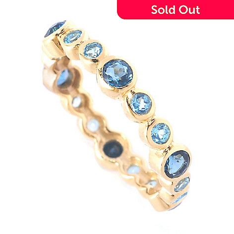 127-389 - Colette 1.26ctw London Swiss Blue Topaz ''Prunes'' Stack Band Ring