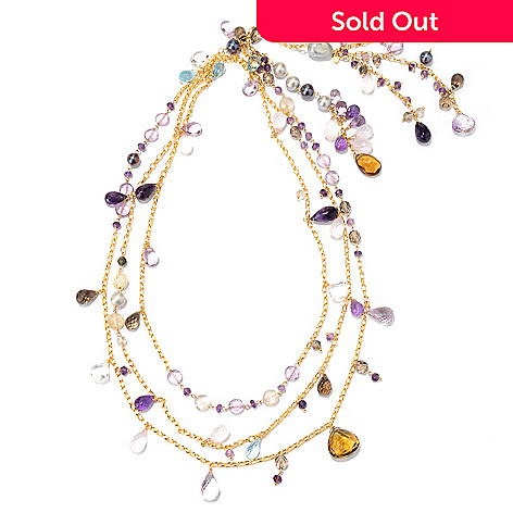 127-390 - Colette 68.5'' Cultured Freshwater Pearl & Multi Gem Wrap-Around Necklace