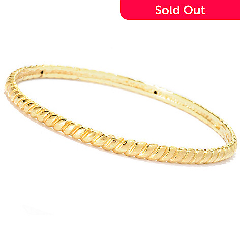 127-392 - Italian Designs with Stefano 14K ''Oro Vita'' Electroform ''Canapo'' Bangle Bracelet
