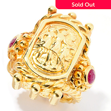127-394 - Italian Designs with Stefano 14K ''Oro Vita'' Electroform Ruby ''Le Danzanti'' Ring