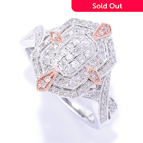 127-406 - Diamond Treasures 14K White & Rose Gold 0.50ctw Diamond Pave Ring