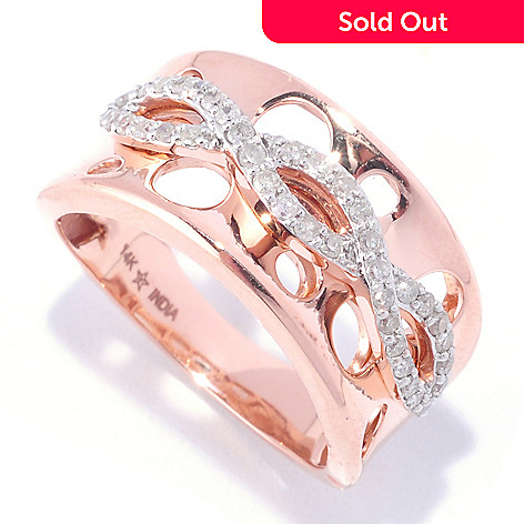 127-415 - Diamond Treasures® 14K Rose Gold 0.34ctw Diamond Infinity Overlay Cut Out Band Ring