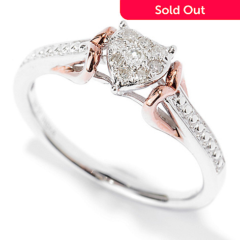 127-417 - Diamond Treasures 14K White & Rose Gold 0.11ctw Diamond Heart Ring