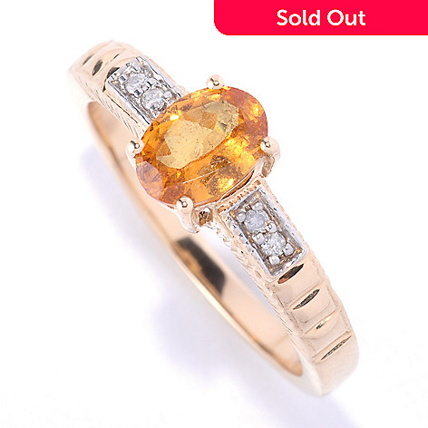 127-427 - Gem Treasures® 14K Gold 0.86ctw Mandarin Garnet & Diamond Ring
