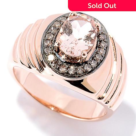127-429 - Gem Treasures® 14K Rose Gold 1.20ctw Oval Pink Morganite & Diamond Ring
