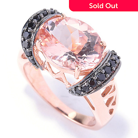 127-430 - Gem Treasures 14K Rose Gold 4.32ctw Oval Pink Morganite & Black Spinel Ring