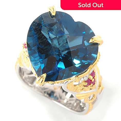 127-435 - Gems en Vogue 14.41ctw Heart-Shaped London Blue Topaz & Ruby Ring