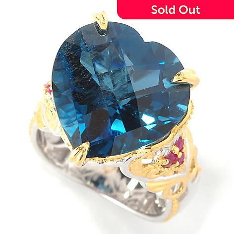 127-435 - Gems en Vogue 14.41ctw Heart-Shaped London Blue Topaz & Ruby Ring