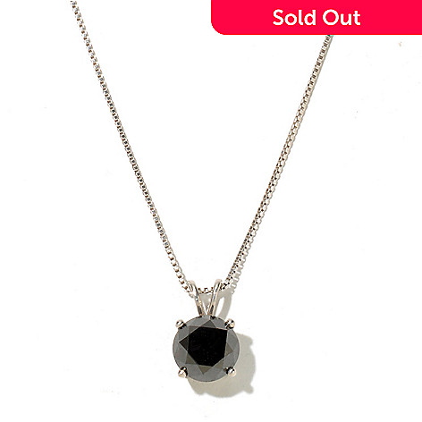 127-441 - Diamond Treasures Sterling Silver 2.00ctw Black Diamond Pendant w/ Chain