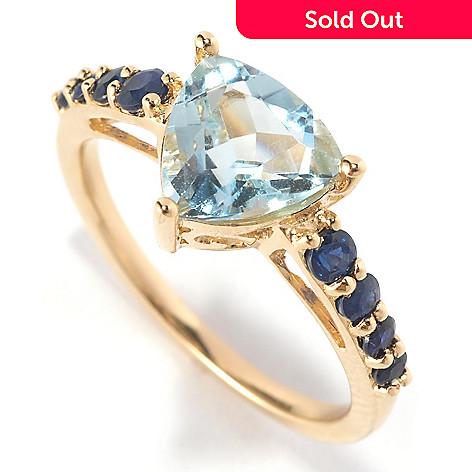127-444 - Gem Treasures® 14K Gold 1.58ctw Trillion Shaped Aquamarine & Blue Sapphire Ring