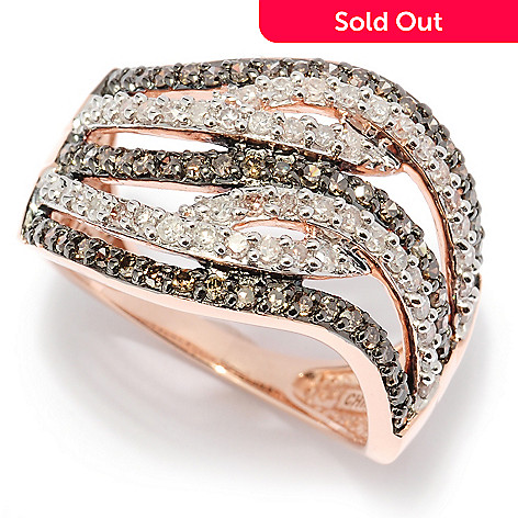 127-445 - Diamond Treasures 14K Rose Gold 1.00ctw Mocha & White Diamond Wave Ring
