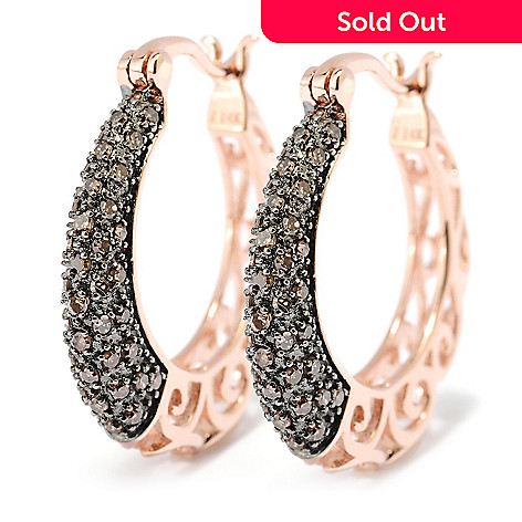 127-446 - Diamond Treasures® 14K Rose Gold 0.50ctw Mocha Diamond Hoop Earrings