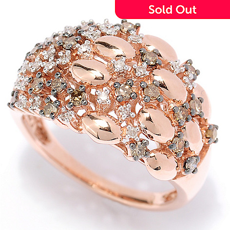 127-450 - Diamond Treasures 14K Rose Gold 0.50ctw Mocha & White Diamond Scatter Ring