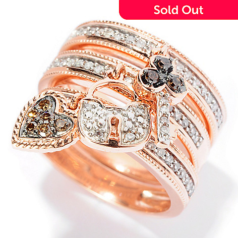 127-453 - Diamond Treasures® Set of Three 14K Rose Gold 0.46ctw Diamond Stack Rings