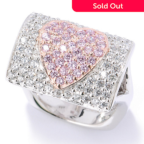 127-454 - Sonia Bitton Two-tone 1.27 DEW Pave Set Simulated Diamond Heart Rectangular Ring