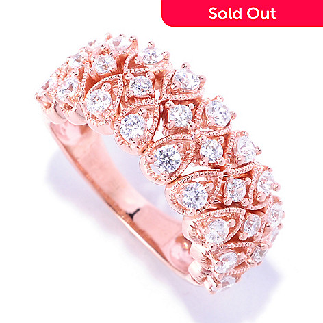 127-455 - Sonia Bitton 1.09 DEW Round Cut Milgrain Simulated Diamond Dream Fit™ Ring