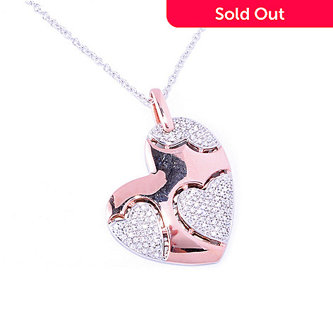 127-457 - Sonia Bitton Two-tone Pave Simulated Diamond Heart Pendant w/ 18'' Chain