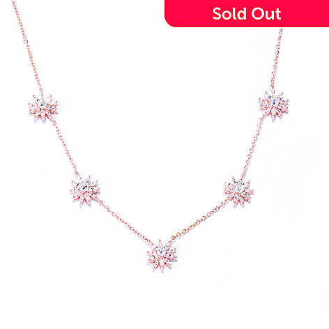 127-458 - Sonia Bitton 18'' 3.68 DEW Simulated Diamond Flower Station Necklace