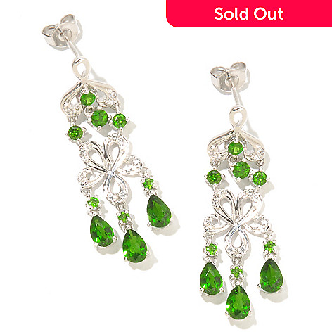 127-459 - NYC II® 3.02ctw Chrome Diopside & White Zircon Dangle Earrings