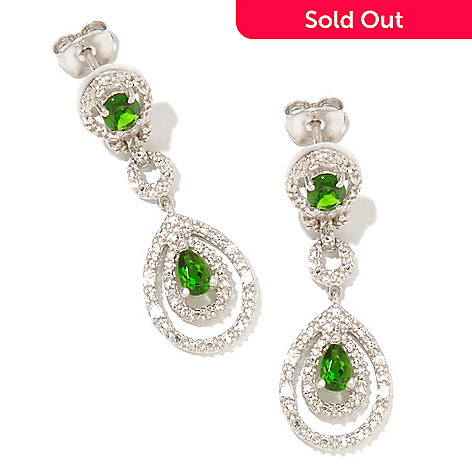 127-460 - NYC II™ 1.08ctw Chrome Diopside & White Zircon Drop Earrings
