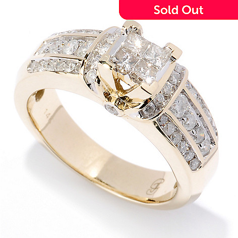 127-463 - Diamond Treasures 14K Gold 1.00ctw Diamond Cluster Solitaire Ring