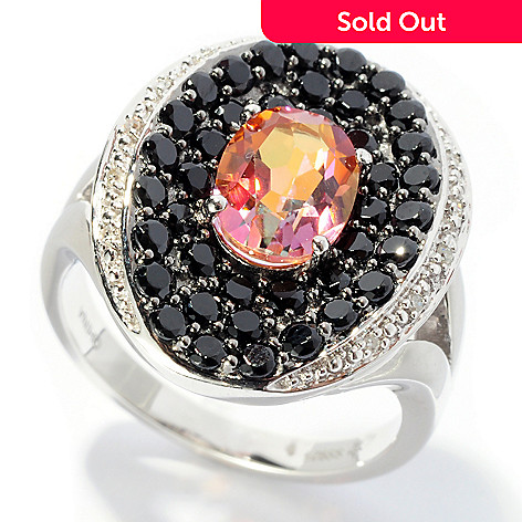 127-466 - Gem Treasures Sterling Silver 2.59ctw Sunset Topaz, Black Spinel & Diamond Oval Ring