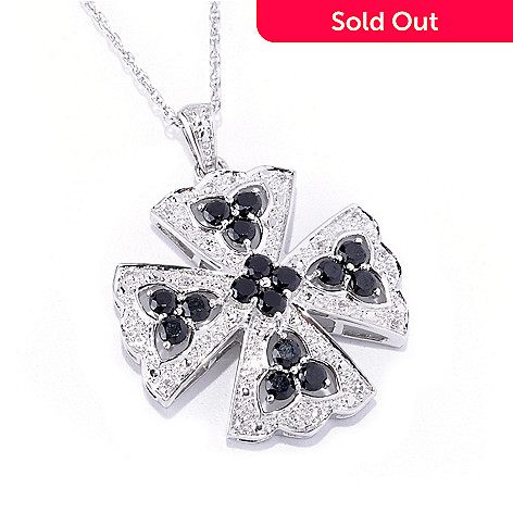 127-469 - Gem Treasures® Sterling Silver 1.32ctw Black Spinel & White Topaz Cross Pendant w/ Chain