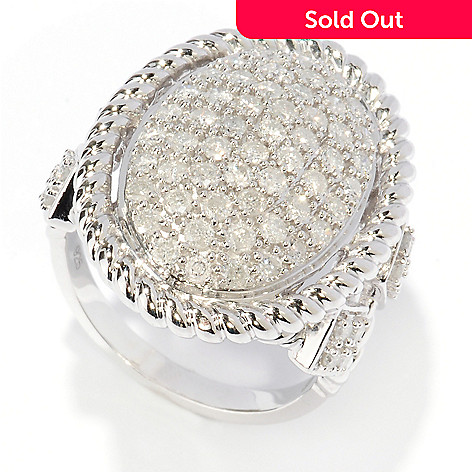 127-470 - Diamond Treasures® Sterling Silver 1.34ctw Pave Diamond Oval Ring