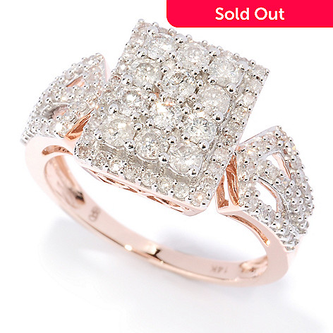 127-473 - Diamond Treasures 14K Rose Gold 1.04ctw White Diamond Rectangle Ring