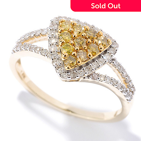 127-475 - Diamond Treasures 14K Gold 0.54ctw Yellow & White Diamond Triangle Ring